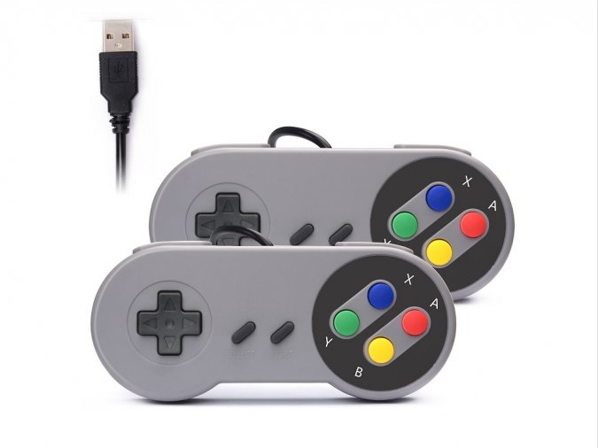 2 gamepads estilo Nintendo SNES con conexión USB (PC, Mac, Raspberry Pi, etc.)