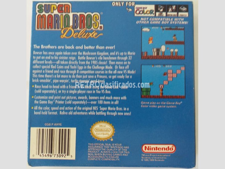 CARTUCHO PARA GAMEBOY COLOR - SUPER MARIO BROS DELUXE 2