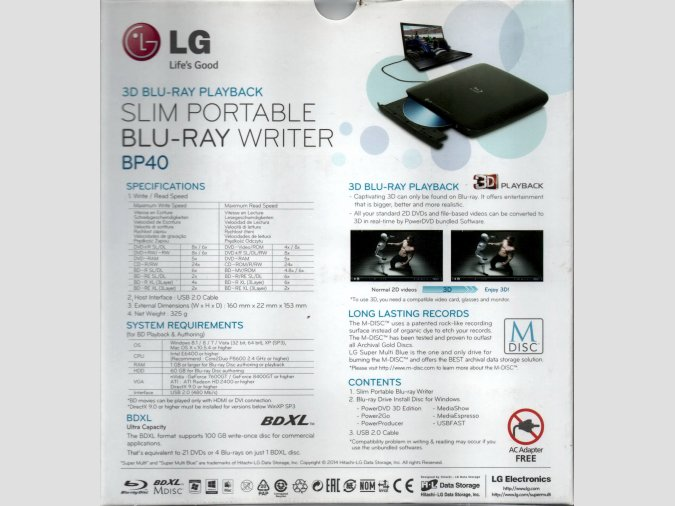 SLIM PORTABLE LG BP40NB30 GRABADOR BLU-RAY PORTATIL  BDXL