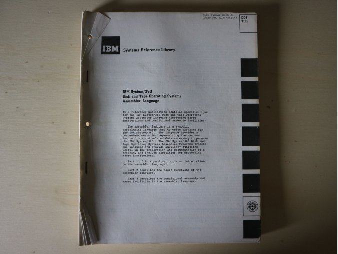 IBM System/360 – Disk and Tape Operating Systems Assembler