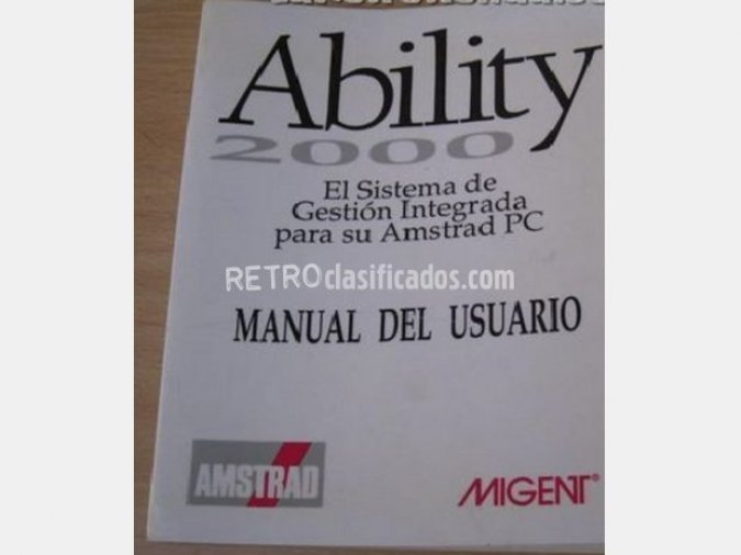 Manual Ability 2000 para AMSTRAD. NUEVO.